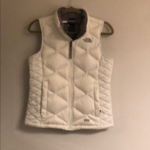 Women's white North Face puffer vest coat